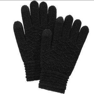Steve Madden Touchscreen Gloves Metallic Black NWT